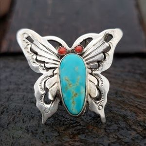 Vintage turquoise and red coral ring